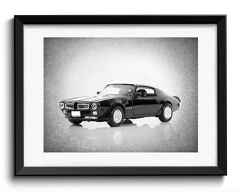 1973 Black Pontiac Firebird wall print, vintage car decor, car room decor, Pontiac Firebird, car poster, man cave decor, car print