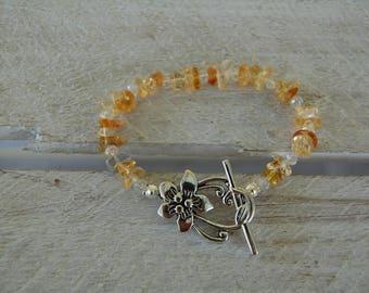 Bracelet in citrine and Swarovski crystals, flower clasp, November birthstone