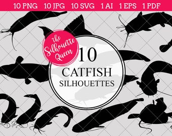 Catfish Silhouettes Clipart Clip Art(AI, EPS, SVGs, JPGs, PNGs, PDF), Catfish  Clip Art Clipart Vectors - Commercial and Personal Use