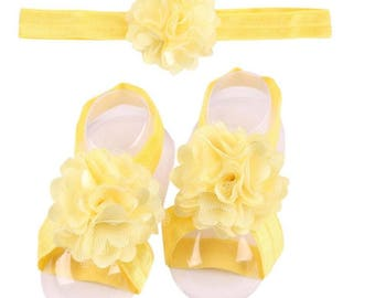 Yellow - Baby Shoes Headband Set, Baby Barefoot Sandals,  Toddler Sandal, Newborn Sandal, Newborn Headband,  Baby Sandals, Barefoot