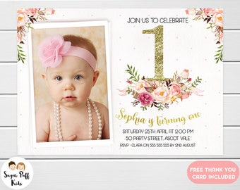 Girls 1st Birthday Invitation, Girls First Birthday Invitation, Faux Gold 1st Birthday Invitation For Girl, Photo first Birthday Invite