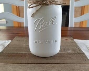 White Fine Texture Mason Jar Powder Coated