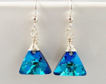 Swarovski Triangle Bermuda Blue Crystal Earrings with Sterling Silver Wire Wrapped Top, Ocean Blue Crystal Jewelry