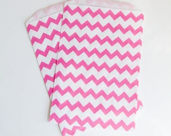 Chevron Party Treat Bags - Pink