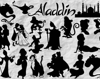 19 Aladdin Silhouettes | Aladdin SVG cut files | Aladdin cliparts | digital files | printable | Aladdin prints | vectors | vinyl design