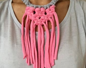 Statement macrame necklace, Tassel necklace, T shirt yarn necklace, Fabric necklace in grey and pink