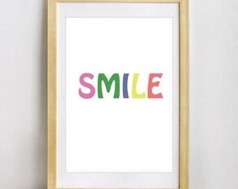 nstant Download, Smile Always, Art Print, Quote, Inspirational Print Decor, Digital Art Print, Office Print, 12x16, Black  White Printable