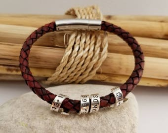 Personalized Men's Bracelet, Leather, Secret Message, Coordinates Bracelet, Anniversary, Husband, Gift for Boyfriend, Gift for Fiance