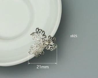 1 925 sterling silver flower pendant pinch bail,21mm,pendant holder