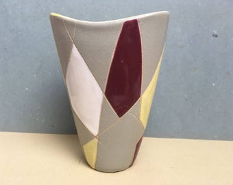 German pottery vase mid century modern 50s/60s geometrical decor