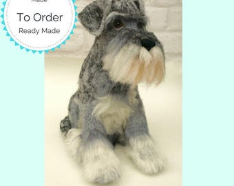 Lifelike Knitted and felted Schnauzer