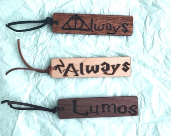 Harry Potter Wooden Pyrography Bookmarks, Hogwarts, Books, Reading, Collectors, Hermione, Ron, Lumos