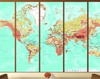 World map triptych etsy triptych world mapworld map canvascanvas printcanvas wall artcanvas gumiabroncs Images