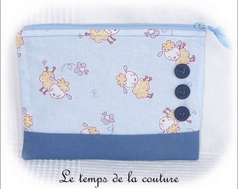Pouch clutch - zippered - shades of blue and grey blue - handmade.