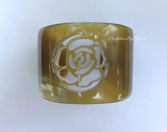 Buffalo HORN CUFF Bracelet. Natural Amber Honey. Height = 1.96'' (50mm) [TTC-046]