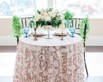 Sequin Tablecloth | Rose Gold Sequin Tablecloth |  Rose Gold Table Linen | Sequin Table Cover | Rose Gold Wedding Decor | Sequin Runner