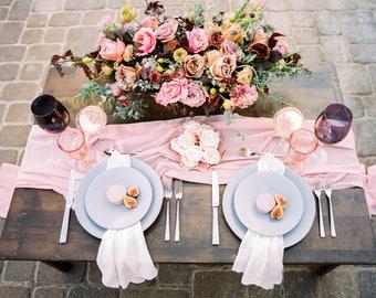 Flowy table runner, Silk Runner, wedding table, chiffon table runner, wedding, romantic wedding decor, gauze table runner, silk ribbon