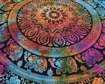 Tye Dye Hippie Mandala Tapestry