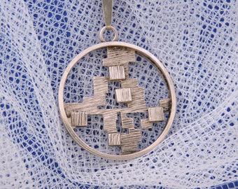 Silver Design Modernist Pendant + Chain Poland Krakow