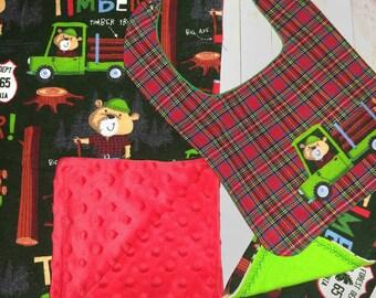 Minky baby blanket -Baby shower gift- Boy- Lumberjack -Baby blanket, bib, and burp cloth