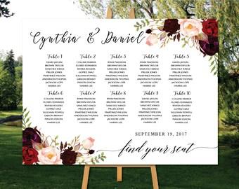 PRINTABLE Wedding Seating Chart, Poster wedding seating chart, Wedding Table seating chart, Boho wedding seating chart, Find Your Seat, SC24