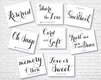 Printable Wedding Sign, Modern Wedding Signs Bundle , Instant Download Wedding Signs , Guestbook , Love is Sweet , Signs Set, Signs07