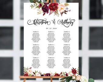 Wedding Seating Chart, Poster wedding, Seating Chart, Wedding Table seating, Navy seating chart, seating chart alphabet, Find Your Seat, 156