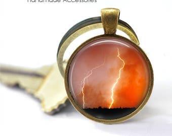 LIGHTENING STRIKE Key Ring • Extreme Weather • Orange Sky • Storm at Night • Lightening at Night • Gift Under 20 • Made in Australia (K478)