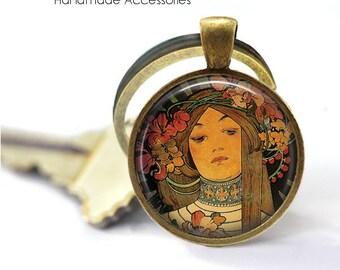 ALPHONSE MUCHA Key Ring • Mucha Art • Art Deco Style • Mucha Jewellery • Gift Under 20 • Made in Australia (K520)