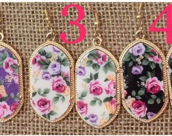 Floral Gold Pendant Earrings