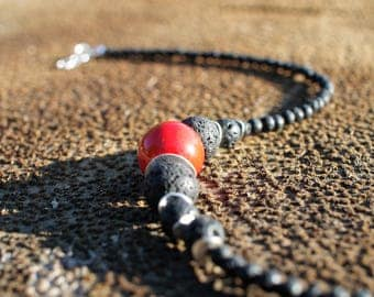 Black lava stone necklace - Red ceramic bead necklace - Black necklace - Red necklace