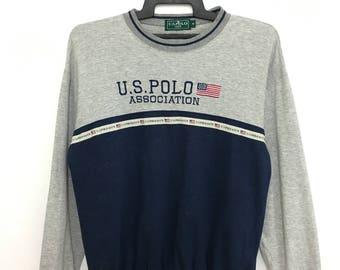 Vintage 90's U.S POLO Association Sweatshirt Color Block Medium Size