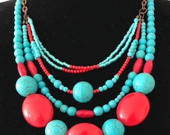 Multi strand, beaded necklace