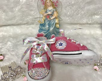 Baby Girls Pink White Boys Black Blinged Out Converse Crib