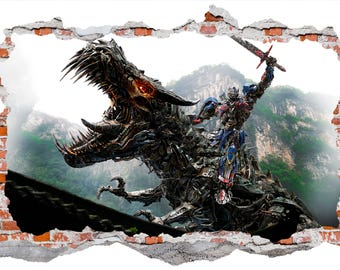 Transformers Optimus Prime vs Dinobot, Smashed Wall Sticker, Wall Decals