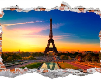 Eiffel Tower Paris Smashed Wall Sticker Wall Decals