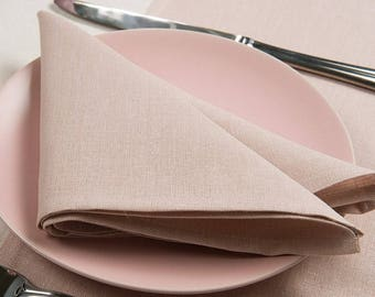 10 pcs linen CLOTH NAPKINS - made in Europe - Pink - Various Sizes