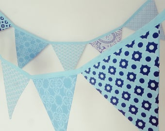 Aqua Fabric Bunting Banner Flags / Fabric Flags / Girls bedroom decor / Birthday Party Decoration / Fabric Pennant Banner / Wall Decor