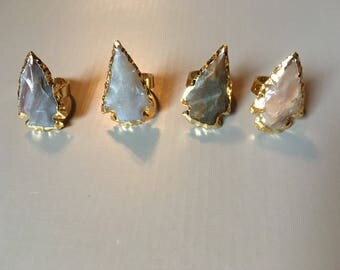 SALE Arrowhead Ring/Raw Agate Ring/Crystal Ring/Druzy Ring/Natural Stone Ring/Statement Ring/Arrowhead Jewelry/Arrowhead Stone Jewelry