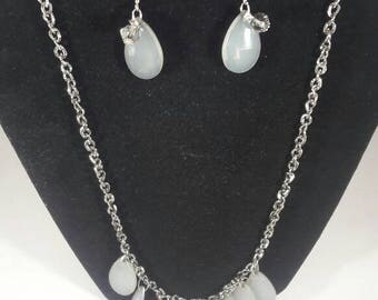 Womens Necklace, Silver Black Chain Necklace ,Chain Necklace, Gift Set, Teardrop Necklace Set
