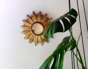 Mirror gold Sun, witch, vintage, retro mirror, mirror gold mirror mirror chic mirror, antique mirror