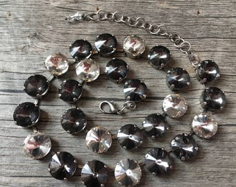 Transparent Gray & Crystal Swarovski Necklace