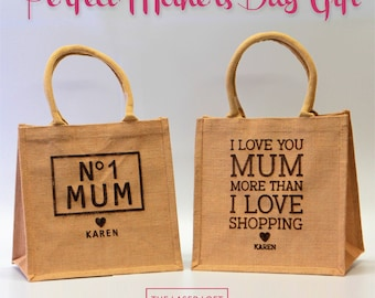 Personalised Mother's Day Gift Bag - Hessian -Jute