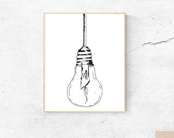 Hanging lightbulb with candle printable, Lightbulb wall art, Downloadable lightbulb art, Black and white, Lightbulb prints