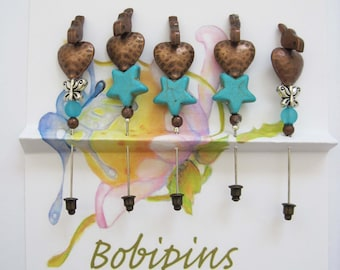 Five Copper Birds on Hearts and Turquoise Stars Decorative Pins, Friendship Pins for Sharing, Quilting, Sewing, Scrap Booking, etc