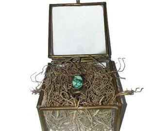 Vintage Glass Trinket Box, Small Trinket Box, Jewelry Box, Pill Box, Pill Box Ring, Glass Jewelry Box, Glass Ring Box, Ring Bearer Box
