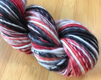 Handspun 'Zombie' Art Yarn with handdyed targhee wool - thick and thin yarn, perfect for knitting, crochet, weaving, single ply