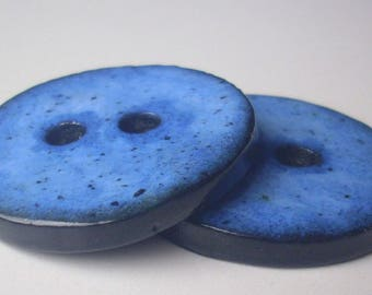 Set of 2 large buttons handmade 4 cm - polymer clay-