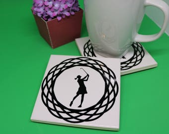 Lady Golfer Coaster, Lady Golfer gift