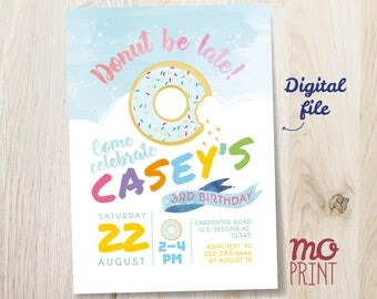 Donut Birthday Invitation - Donut party - 5x7 invite - printable digital file - Donut rainbow sprinkles